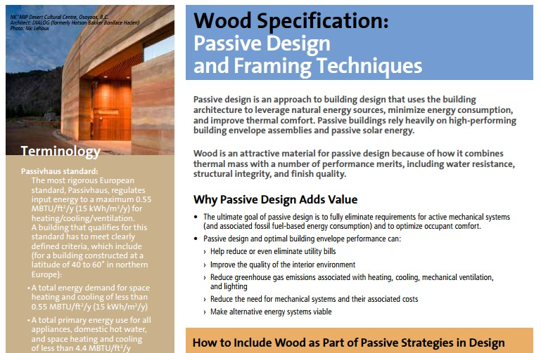Wood Specification Passive Design