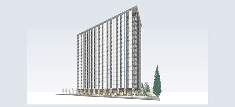 A rendering of the Tall Wood Building residence. Credit: Acton Ostry Architects